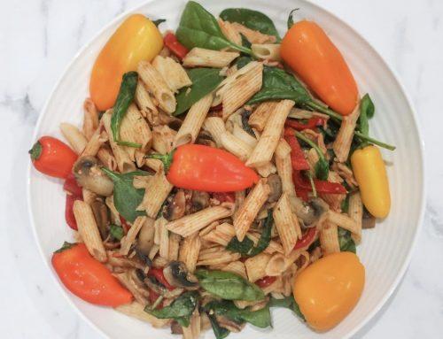 Vegetarian pasta with mushroom and capsicum